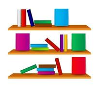 Bookshelf with books vector illustration