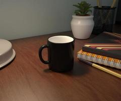 taza de café negro en una maqueta de mesa foto