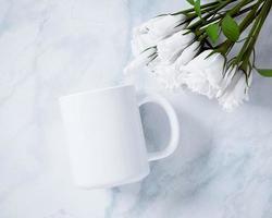 maqueta de taza de café con leche de vista superior foto