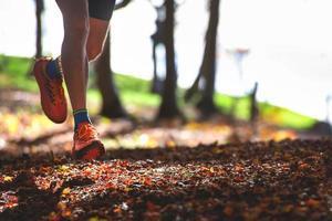 Detalle de los zapatos de un corredor en el bosque entre las hojas secas foto