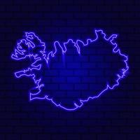 Iceland glowing neon sign on brick wall background photo