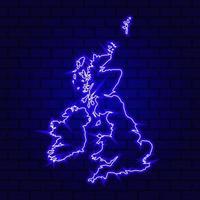 United Kingdom glowing neon sign on brick wall background photo