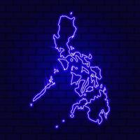 Philippine Islands glowing neon sign on brick wall background photo