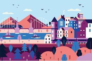 Landscape port in the midle of urban city flat design illustration vector