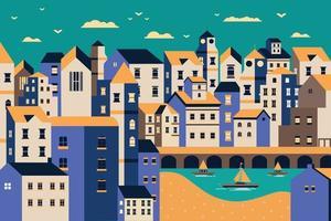 Landscape city riverbank flat design illustration vector