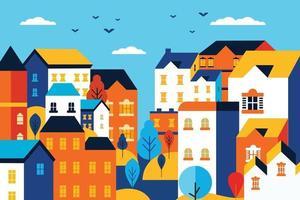 Landscape urban city flat design illustration vector
