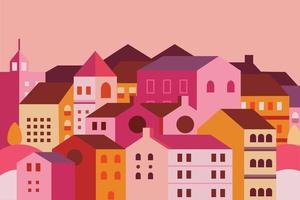 Landscape city village illustration vector