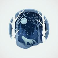 Wolf wildlife with vector papercut style of winter