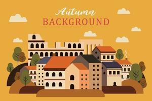 Landscape city during autumn illustration vector