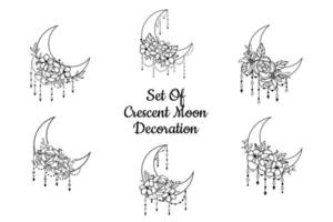Crescent moon floral style, moon decoration element collection vector