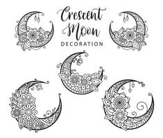 Crescent moon coloring page, moon decoration element collection vector