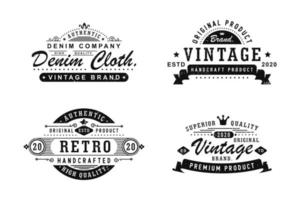 Set of vintage clothing denim badges, labels and logo vector