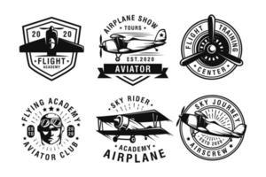 Set of vintage aircraf logo design vector