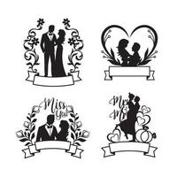 Set of bride and groom silhouette illustration, happy couple vector
