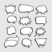 Variation empty comic speech bubbles vector