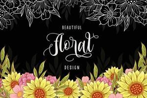 Sunflower art background vector