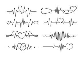 Cardiogram heartbeat tattoo line design vector