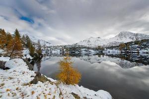 contraste otoño invierno lago alpino foto