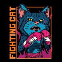 vector gráfico ilustración gato boxeador dibujos animados vintage retro boxeo