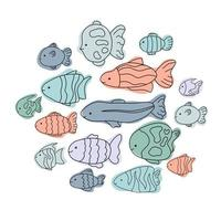 Cute fish set doodle line Marine aquarium collection vector