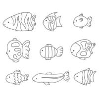 Cute baby fish isolated line collection set doodle Hand drawn sea vector