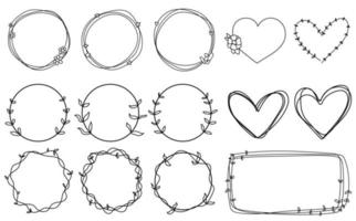 Doodle frames set hand drawn Round lines wedding isolated collection vector