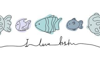 Cute text I love fish set doodle line. Marine aquarium collection. vector