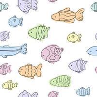Cute pastel fish sea pattern white line doodle Seamless ocean vector