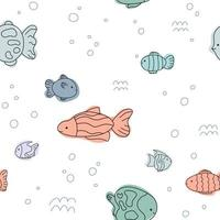 Cute fish sea pattern white blue line doodle Seamless background ocean vector