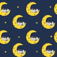 Cat sleeping moon stars pattern blue Seamless background pet princess vector