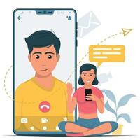 Young people talking on a video call vector