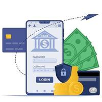 Mobile with banking application vector