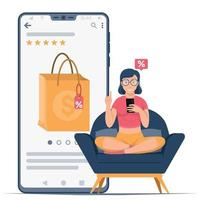 Woman with mobile doing internet shopping vector