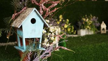 Decorative nesting boxes on bright background photo
