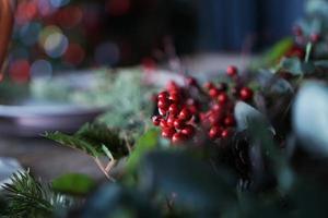 Rowan berries decor for Christmas party photo