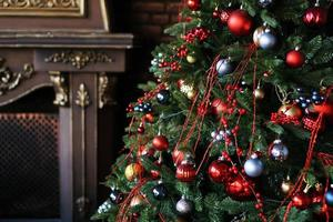 Christmas decorations, Christmas tree with colored balls photo