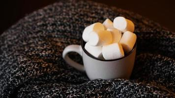 Hot cocoa with marshmallow in a white ceramic mug photo