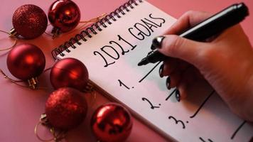 lista de objetivos para el concepto 2021 en rosa foto