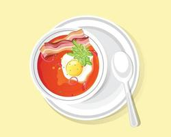 Delicious food bowl soup, Tomato soup with Egg and bacon vector