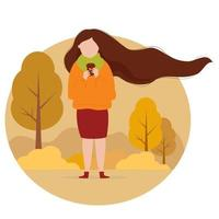 Brunette girl with long hair with coffee in autumn park vector