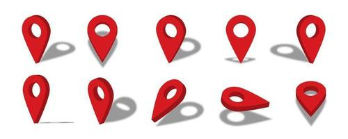Location 3d icon illustration with different views and angles vector