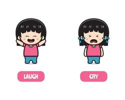 Cute girl opposite laugh and cry, words antonym for child illustration vector