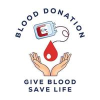 blood donation illustration. blood bag with hand. vector design icon