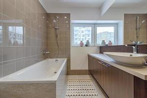 Modern bath in brown photo