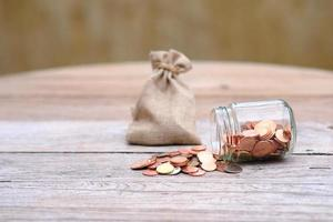 Close up Coins on table, Saving money for finance accounting photo