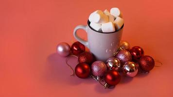 Trendy Christmas background of of hot chocolate with marshmallow photo