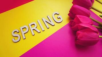 concepto de primavera. ramo de tulipanes sobre fondo de colores foto