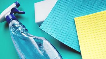 Housework, housekeeping and household concept - cleaning rag photo