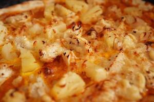 Close up hawaiian pizza - homemade Hawaiian pizza photo