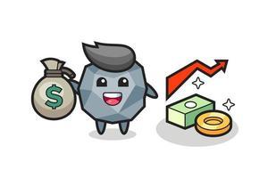 stone illustration cartoon holding money sack vector